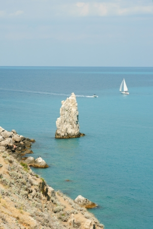 rocks and  ships in the sea near the Yalta. Crimea.Ukraine photo