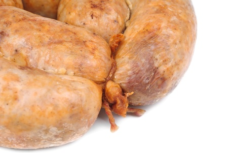 sausage from the pork stuffing isolated on a white background Stock Photo - 18599420