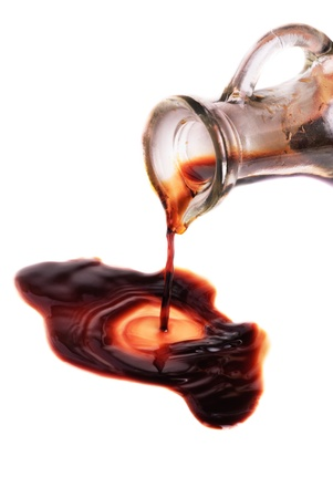 vinegar: decanter with balsamic vinegar isolated on the white background  Stock Photo