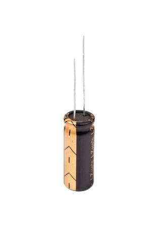 electrolytic: Condensador electrol�tico de negro aislado en blanco Foto de archivo