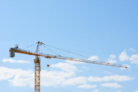 Tower crane on blue sky  background
