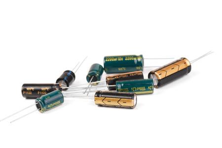 electrolytic: Electrolytic Capacitors  isolated on white background Stock Photo