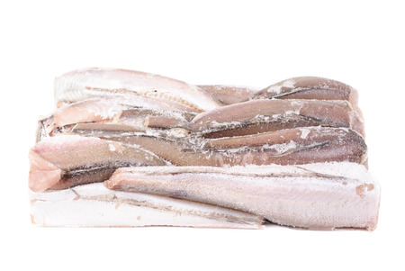 hake: frozen fish hake isolation on white Stock Photo