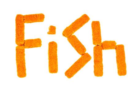 Word fish crafted from fish sticks on a white background