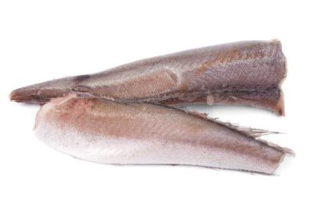 frozen fish hake isolation on white photo