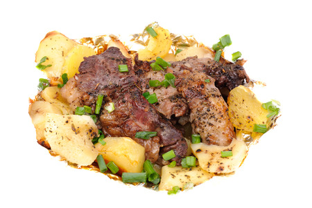 Barbecue meat with potato close-up as food background