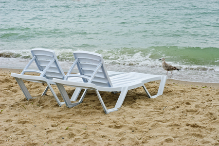 longue: chaise longue on a beach on a background of sea