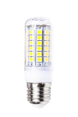 e 27: energy-saving LED lamp isolated on white background.