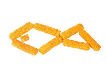 crumbing: fish sticks on a white background Stock Photo