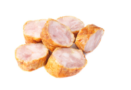 sausage slices on a white background