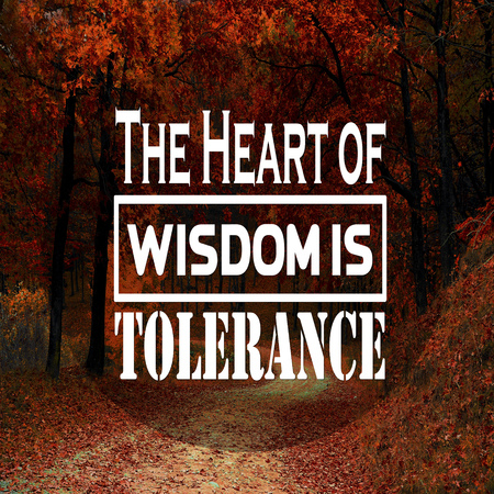 Inspirational Quotes The heart of wisdom is tolerance, positive, motivational Stock fotó