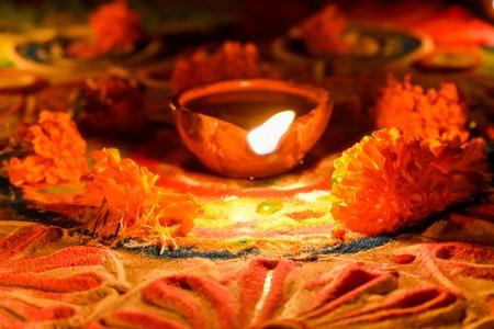 Deepawali or Deepavali Diwali Rangoli DIyas, festival in india Stock Photo