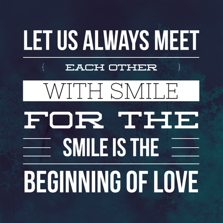 Inspirational Quotes Let us always meet each other with smile for the smile is the beginning of love, positive, motivational 免版税图像