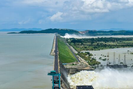 Hirakud Dam in India, Longest dam in the asia, aerial view during dam gates opened to release flood water
