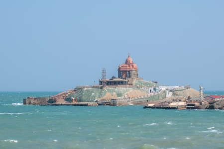 Vivekananda Rock Memorial on the rock island at lakshadweep sea, Kanyakumari, India