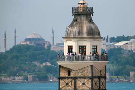 constantinople ancient: The Maiden Tower in Istanbul, Turkey
