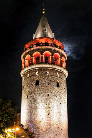 constantinople ancient: Galata Tower in the night istanbul Stock Photo