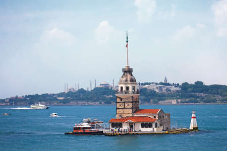 the marmara: Maidens Tower Turkey-Istanbul a strait that connects the Black Sea with the Sea of Marmara and separates Europe from the Anatolian peninsula of western Asia.
