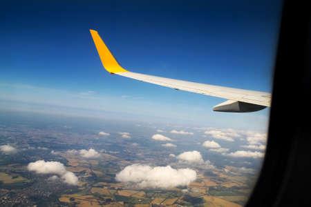 looking through window: Looking through window aircraft Stock Photo