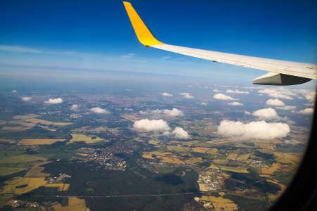 through window: Looking through window aircraft Stock Photo