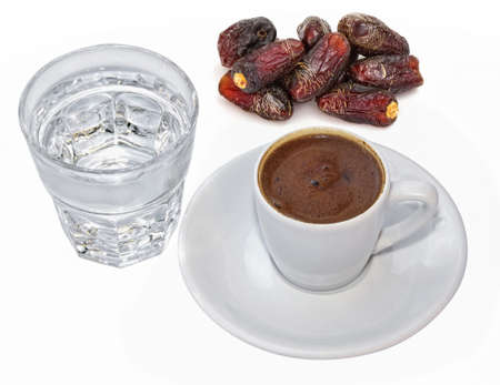 tell fortune: Turkish coffee and dates Stock Photo