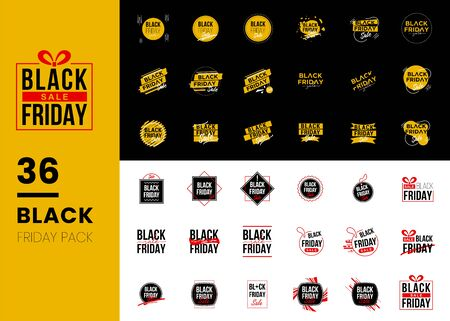 Set of Black Friday Sale isolated on black white background. Modern Black Red Yellow Flat Style.