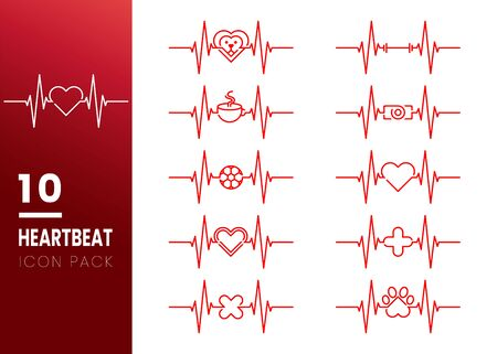 SET OF Red Heartbeat with Heart Shape Centered Line isolated on white background