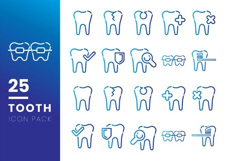 Set of Line tooth icon. Dentist logo suitable for mobile user interface isolated on white background. Vector Illustration Vettoriali