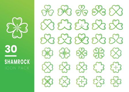 Set of 30 leaf clover icon. Green shamrock isolated on white background. Suitable for web site page and mobile app design vector element. Ilustracja