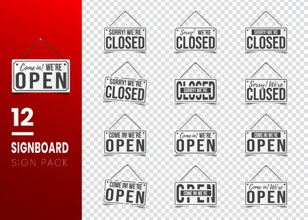 Sorry, we are closed and Come in, we are open. White sign with shadow. Realistic vector illustration. Set of Business concept for closed open businesses, sites and services. Hanging signboard with a rope isolated on transparent background.