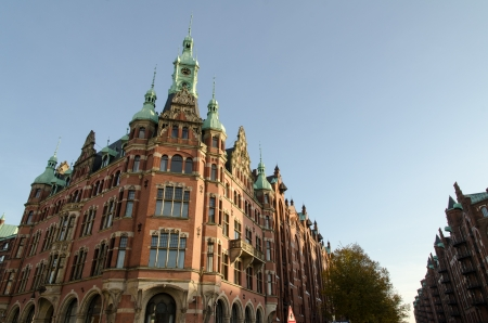 famous old Speicherstadt in Hamburg, build with red bricks, warehouse district photo