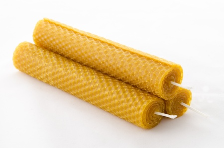 beeswax: Three beeswax candles