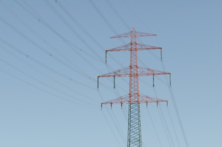 large power lines with blue sky photo