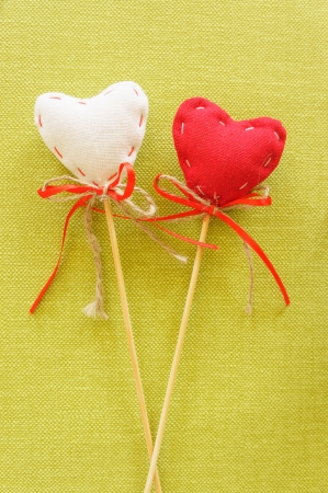 Red heart on wooden stick Stock Photo - 24929846