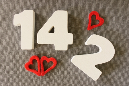 Valentin date 14.2 of white wood letters Stock Photo - 24924592