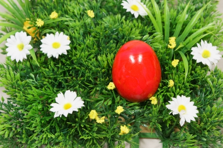 prato sintetico: uova colorate si trovano su un erba sintetica e fiori