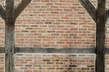 timbered: Brick wall of the half timbered house textur