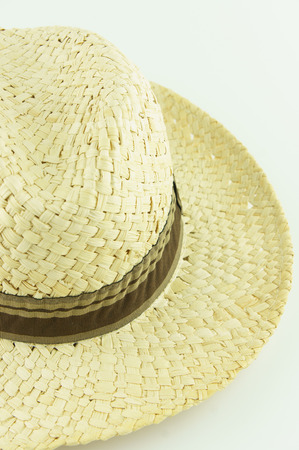 men straw hat on white background photo