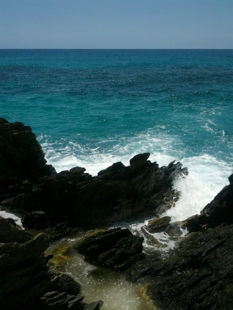 Sea view on the rocks at Catica from Aragua State. Venezuela.