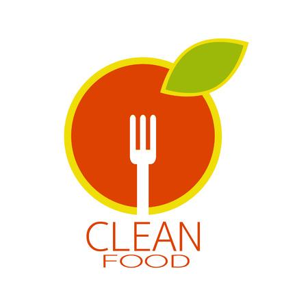 logo de comida: alimentos limpios dise�o del logotipo Vectores