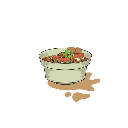 thai beef nudle, beef nudle Ilustrace