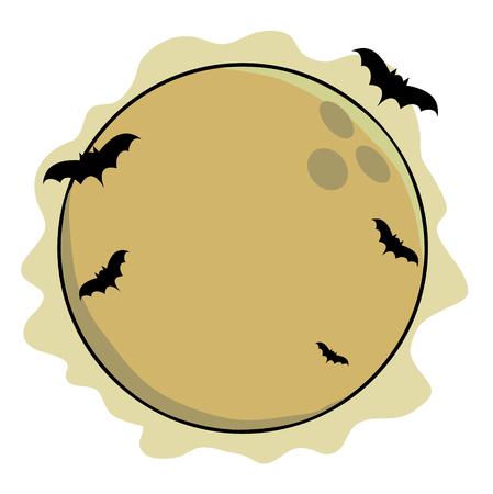 illustrators: Full moon with bats of halloween. Illustration