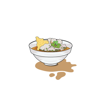 A bowl of noodle soup with pork, popular food from Thailand, isolated illustration
