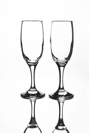 glass details in front of the white background photo