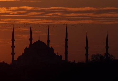 A mosque silhouette of Istanbul photo