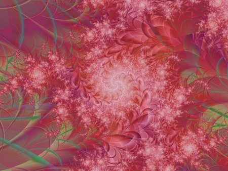 A pink fractal created by mathematical calculations