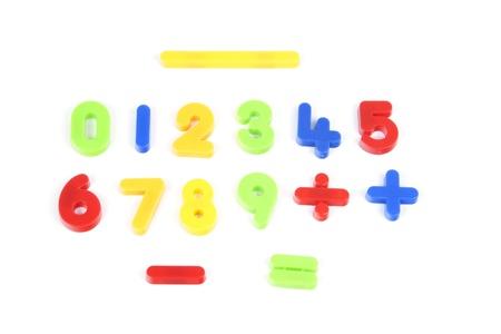 signos matematicos: N�meros de 0 a 9 y algunos de los signos matem�ticos en diferentes colores en blanco