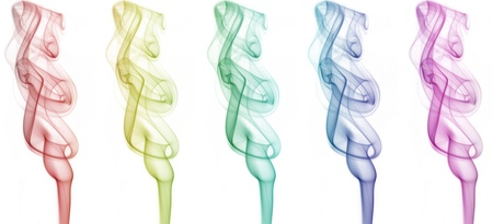 Smokes with different colors on white background Imagens