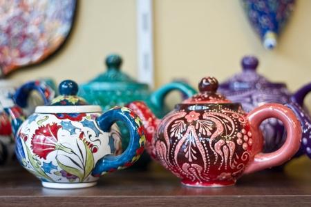 iznik: Authentic Iznik tile work cups in a gift shop in Istanbul