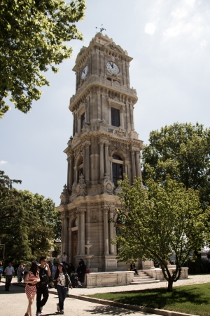 Historical Dolmabahce clock tower in Istanbul, Turkey ordered by Ottoman Sultan Abdulhamid II  Stock Photo - 17044815